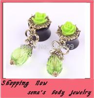 Free shipping flesh tunnel mix 8-20mm 28 pcs/lot green rose flower  flesh  ear  gauge expander taper body piercing jewelry