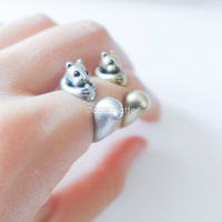 Free Shipping Knuckle Adjustable Vintage Bronze Silver Cute Squirrel Animal Wedding  Rings For Men Wholesale