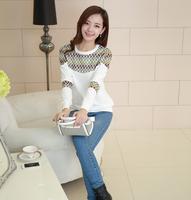 2014 Hot sale Free shipping New Autumn Coat Large Size Women Loose Stitching Lace Long-Sleeved Round Neck Hedging Sweater White
