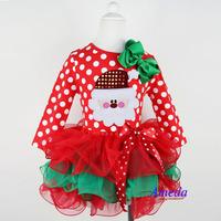 wholesale 5pcs/lot gril's clothes santa claus long sleeve cake dress baby clothes christmas cartoon kids clothes