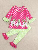 wholesale 5set/lot gril's clothes long sleeve dot bow t-shirt pants christmas baby 2pcs set clothes cute kids clothes