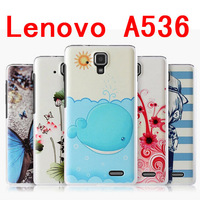 Top quality ! Colorful Painting Cartoon Flower PC Hard Case for Lenovo A536 Free shipping  + Screen Protector 1pcs/lot ,