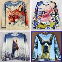 Latest animal 3 d printing  women hoodies Thin Round collar women's Sweater  streets of jerseys  sizeS/M/L/XL