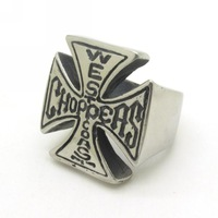 Hot Sale, New Arrival Stainless Steel Rock Biker Stainless Steel  Letter Bible Cross Charm Ring Size 8-13 Free Shipping