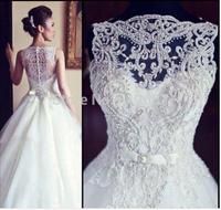New elsa dress vestidos de noiva Sleeveless A Line Tullle Wedding Dresses Applique Beaded Court Train Bridal Gowns With Buttons