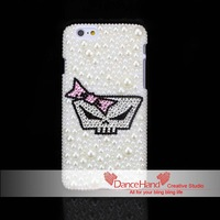 Free Shipping Bling Pearl Rhinestone Cute Skull Pink Bowknot For iPhone 6 6 Plus 5 5S 5C