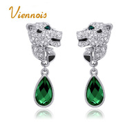 New Top 18k gold/platinum plated leopard blue/pink  crystal tears classic fashion earrings jewelry accessories (UE0108)