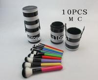 Free HKPOST 1SET NEW pro 10Pcs colorfull Professional l Makeup Brushes Set Makeup Brushes Kit with Stripe cup Bag