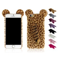 """Hot saling 3D Lovely Leopard print pattern Mouse With Tail Hard Back Plastic Case Case for iphone6 4.7"""""""