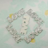 100 Glitter Silver Love Letter Applique Scrapbooking Craft Favor 25mm x 8mm  Free Ship