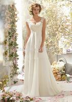 New Arrival vestido de noiva longo Elegant A Line Cap Sleeve Beading Lace Backless Bridal Gown frozen elsa Dress/Wedding Dress