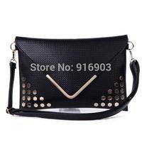 Vintage Women's Evening Bag,Hot Brand New Designer Rivet Messenger Shoulder Bags,Retro PU Leather Gold Envelope Clutches,SJ090