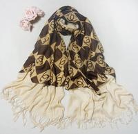Imitation cashmere double stitching chiffon letters printed scarf wholesale