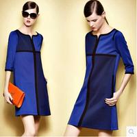 Fashion Women ZA Plus Size S-3XL Half Sleeve Pullovers Women Brand Dresses 2014 Popular Patchwork Elegant Party Female Vestidos