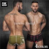 20 pcs/lot Hot sale Pinkhero men underwear print mens short comfortable breathable Male panties cotton calzoncillos boxer man