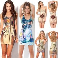 2014 Free Shipping New Fashion Sexy Women Vest Tops Print Hobbit Map Short Pencil Dress Round Collar Tank Dress YXJ007