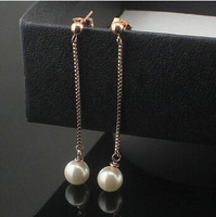 Gurantee 100% 316L Titanium Steel Brand freshwater pearl bead crystal accessories for women long statement earrings