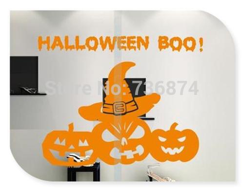 Pumpkin BOO Halloween Vinyl Wall Sticker For Festive Party Shop Window Free Shipping(China (Mainland))