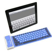 Waterproof Mini Folding Flexible Silicone Wireless Bluetooth Keyboard for Apple iPad Mini New iPad Blue PC Desktop Computer