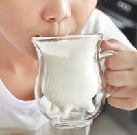 European Creative small cow juice glass cup double glass cup 230ml coffee cup free shipping