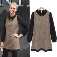 Eouropean and American fashion plus size women dress 2 color winter new doll collar woolen winter long sleeve women dress