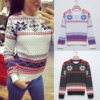 FanShou Free Shipping 2014 Women Hoody Long Sleeve Pullovers Casual Sweatshirt Snowflake Printed Hoodies Moleton Feminine