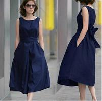 Winter Dress 2014 Fashion Hemp Sleeveless Belt Full Dress Pure Linen Plus Size Clothing Fluid Dress Casual Vestidos