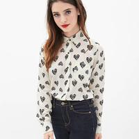 Women Fashion Chiffon Blouses Letter Loving Heart Printed Single-Breasted Pocket Decoration Dovetail Hem Shirt Sleeve Tops D634