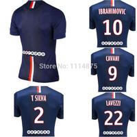 Thai quality kits 14 15 Ligue 1 soccer jerseys CAVANI IBRAHIMOVIC home football shirts DAVID LUIZ LAVEZZI soccer uniforms+logo