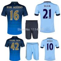 High quality kits14 15 Premier League soccer jerseys+shorts AGUERO SILVA home football shirts KOMPANY DZEKO away soccer uniforms