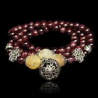 QMODE Tourmaline Stone Charm Fashion Bracelet Luck Chinese Knot Opal Beads Elastic Tibet Style  Bracelet for women