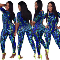 2014 summer women sexy jumpsuit Blue Leopard printing bodycon club clothing bodysuit sexy bandage jumpsuit 5952