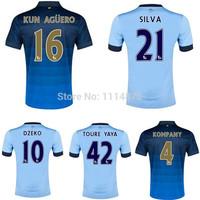 Top Thai quality kits14 15 Premier League soccer jerseys SILVA home football shirts TOURE YAYA KUN AGUERO away soccer uniforms