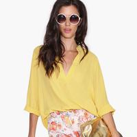 European Style Women New Fashion Yellow Chiffon Blouses Deep V-Neck Dovetail Hem Long Sleeve Mid-Long Style Tops Six Size D569