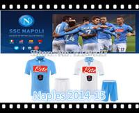 Naples home away blue white soccer kits 2014-15.Best quality jersey+shorts soccer uniform.custom HIGUAIN,CALLEJON,MAGGIO,HAMSIK