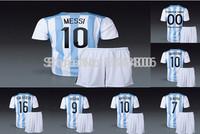 MESSI,HIGUAIN,DI MARIA,KUN AGUERO home soccer uniform.soccer jersey+shorts kits World Cup 2014.free custom