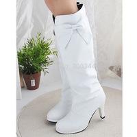2014 HOT FASHION Lady Women Shoes PU Knee High Round Toe High Heel Bowknot Boots XMAS GIFT  Wedding Shoes EUR34-43