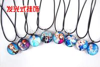 New Wholesale 2015 Chrismas Sell Hot Sale Elsa & Anna Frozen Flash Necklace Ribbon Chain Charms Necklace Pendents-50pcs
