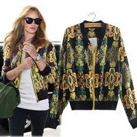 2014 New Women Coat Fashion Vintage Print Jacket Women Free Shipping c1317
