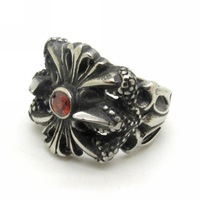 Vintage Gothic Carved Flowers Finger Ring Rock Punk Style Stainless Steel High Quaity Men Ruby Fleur de lis Charm Jewelry