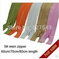 Free shipping 20pcs/lot  5# RESIN zipper 60cm/70cm/80cm length multi color  garment accessories