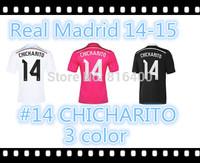 Real Madrid home away white pink black soccer jersey Thai quality 2014-15 CHICHARITO Ronaldo,JAMES KROOS Bale,Isco,Ramos,Benzema