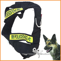 Black 2-in-1 Fashionable Nylon Harness & Lead Leash Traction Rope Dog Rope Chain Set for Police Dog Free shipping