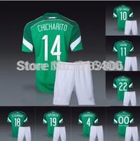 Mexico home green soccer jersey+shorts uniform kits World Cup 2014.CHICHARITO,G.DOS SANTOS,A.GUARDADO,R.MARQUEZ,AQUINO,O.PERALTA