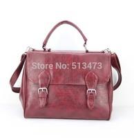 "H031 red,Discount PU  school lady leather handbags,women messenger bag,Size:12.5 x 5.5 x 10.5""(L*W*H),1pcs/opp bag,free shipping"