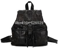 Free Shipping men women sheepskin genuine leather travel backpack school student casual buckle bucket preppy style shoulder bags