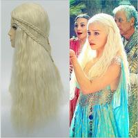 Free shipping daenerys targaryen wig Song of Ice and Fire A Game of Thrones Daenerys Targaryen Blue dress Cosplay