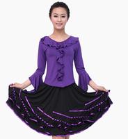 DNC006 Square Dance Apparel New Adult Latin dance skirts a large lotus leaf collar dress dancing dress suit wholesale