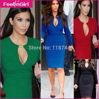Drop Shipping 4 Colors Long Sleeve V Neck Bodycon Dress (S-2XL) Stain Bandge Knee Length Women Midi Dresses Women Clothing 3