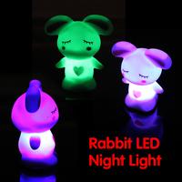LED Novelty Lamp Changing Colors Night Romantic Rabbit Light Cute Lamp Party  Nightlight Lamp Flashing Toy P4PM